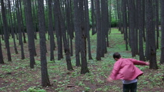 The guy gave freedom to the feelings of the forest. Dancing, runs, spinning and - stock footage