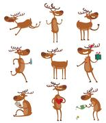 Cartoon deer vector set - stock illustration
