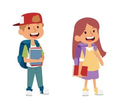 School kid primary education character vector - stock illustration