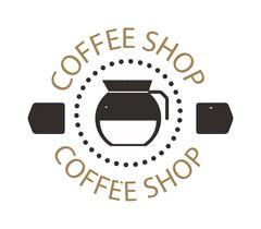 Coffee shop sign cafe symbol badge vector - stock illustration