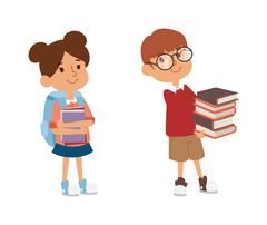 School kid primary education character vector - stock illustration