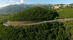 Three-lane part of Adriatic coastline highway near Jaz beach. Montenegro Stock Footage