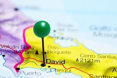 David pinned on a map of Panama - stock photo
