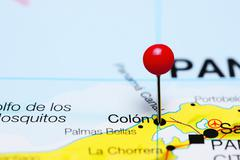 Colon pinned on a map of Panama - stock photo
