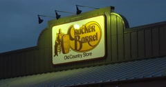 Cracker Barrel - Static of Sign - 4k Stock Footage