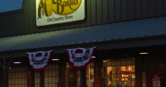 Cracker Barrel - Exterior -Zoom Out from Front - Dusk - 4k Stock Footage
