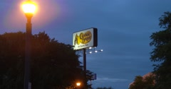 Cracker Barrel Sign - Exterior - Zoom In - Dusk - 4k Stock Footage