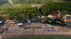 Jaz beach is one of the longer beaches in country. Aerial view from Adriatic sea Stock Footage