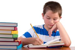 Young dedicated middle school male kid studying - stock photo