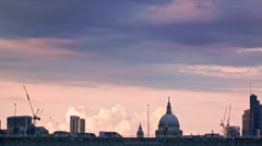 Purple sunset above Waterloo Bridge Stock Footage
