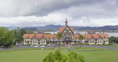 Aerial of Rotorua city and museum, New Zealand Stock Footage
