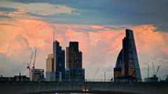 Sunset above Waterloo Bridge, City of London Close Up - stock footage