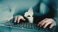 Hacker hacking computer security system Stock Footage