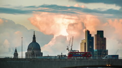 Sunset above Waterloo Bridge, St Paul's Close Up - stock footage