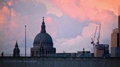 Purple Sunset above Waterloo Bridge, St Paul's Close Up Stock Footage
