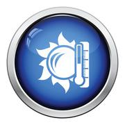 Sun and thermometer with high temperature icon Stock Illustration