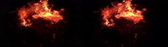 3D Stereoscopic Fire Set 16 Side by Side 1000fps Slow Motion Stock Footage