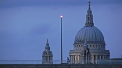 Sunset at Waterloo Bridge, St Paul's Close Up, Red Bus passing - stock footage