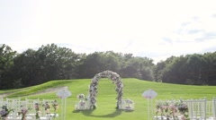 Wedding altar on a green lawn Stock Footage