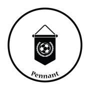 Football pennant icon - stock illustration