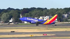 Southwest Airlines new colors plane, taking off - stock footage