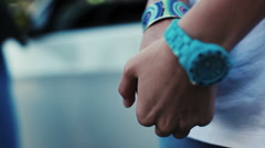 Woman squeeze hands. Blue watch. Bracelet. Constraint. Get rattled Stock Footage