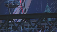 London Eye, Hungerford Bridge, Close UP Stock Footage