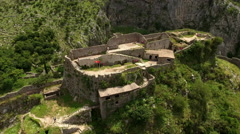 Tourist famous place for climbing on stony stairways. Bay of Kotor, Montenegro - stock footage