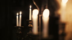 White candles lighting. Fire. Burning flame - stock footage
