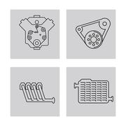 Machine icon set over frames. Auto part design. Vector graphic Stock Illustration