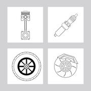 Machine and wheel icon. Auto part design. Vector graphic - stock illustration