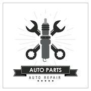 Wrench icon. Auto part design. Vector graphic - stock illustration