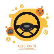 Rudder icon. Auto part design. Vector graphic - stock illustration