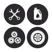 Machine icon set. Auto part design. Vector graphic Stock Illustration