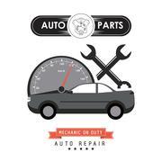 Mileage and wrench icon. Auto part design. Vector graphic - stock illustration