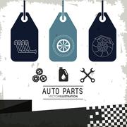 Labels icon set. Auto part design. Vector graphic Stock Illustration