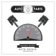 Mileage icon. Auto part design. Vector graphic - stock illustration