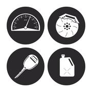 Machine icon set. Auto part design. Vector graphic - stock illustration