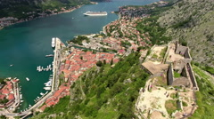 Flying over castle St. John (San Giovanni) and western hillside. Boka Kotorska Stock Footage