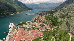 Boka Kotorska and Kotor city, aerial view from ancient fortress. Montenegro Stock Footage
