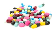 Tablets pills capsule medicines. Stock Photos