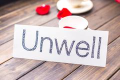 Unwell to well on white paper Stock Photos
