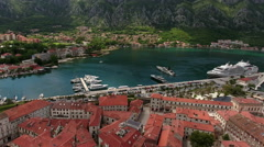 Aerial view at the Boka Kotorska (Gulf of Kotor), Montenegro Stock Footage