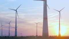 Wind Farm in the Sunset Stock Footage