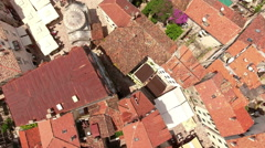 Flying over square and Serbian Orthodox church of St. Nicholas. Montenegro Stock Footage