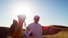 Convoy of camels with owners travelling across Saudi desert sand Stock Footage