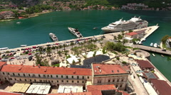 Sea port of Kotor with large cruise ship in Bay of Kotor (Boka Kotorska). Monten Stock Footage