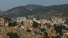 Aerial view of city shanty town on Rio de Janeiro hills, Brazil - stock footage