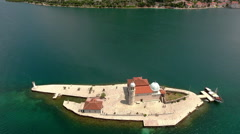 Island Gospa od Skrpjela (Our Lady of the Rocks). Montenegro Stock Footage