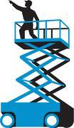 Scissor Lift Worker Pointing Retro Stock Illustration
